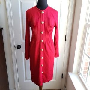Vintage Knit Dress Button Down Ribbed Sweater